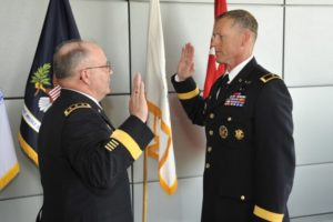 A general officer in the Army is promoted.